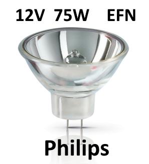 Philips Koudespiegellamp Halogeen 12V / 75W GZ6.35 EFN - A1/230 -P 6853FO - 50 branduren