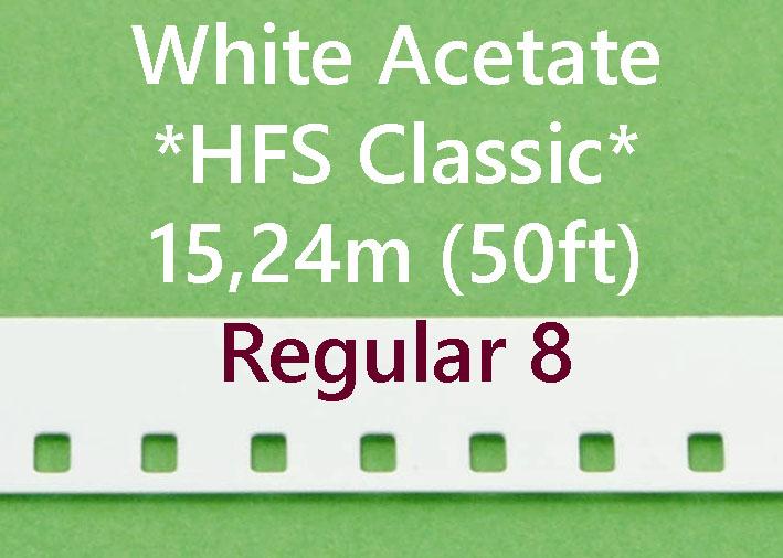 Regular 8 Film Leader - Wit Acetaat- Kodak - 15m (50ft)
