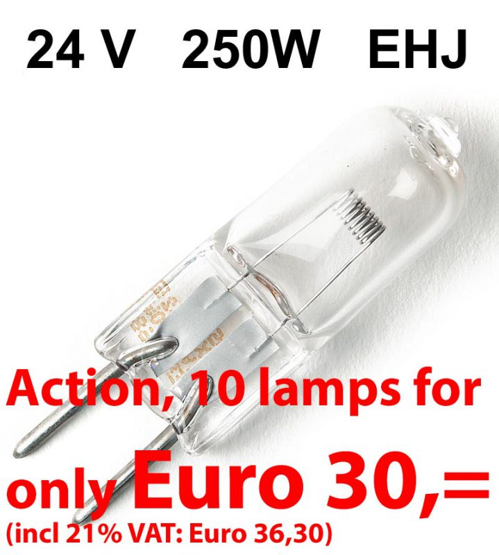 10 x Steeklampje - Halogeen 24V / 250W - GY6,35 - Osram HLX 64655 (EHJ)