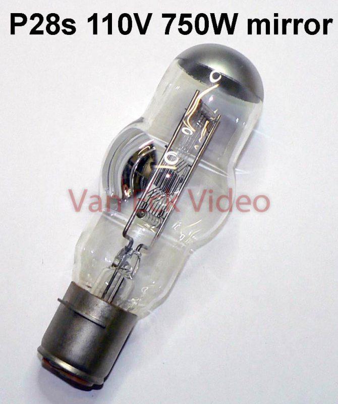 Lamp P28s 110V 750W, Philips 7079C/99 met spiegel