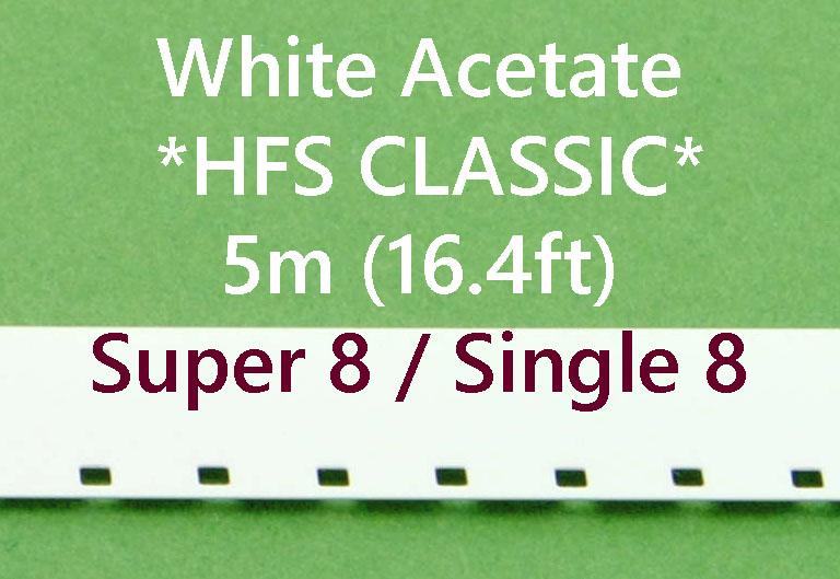 Super8/Single8 Film Leader - Wit Acetaat - *HFS CLASSIC* - 5m (16.40ft)