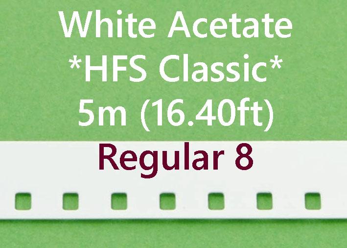 Regular 8 Film Leader - Wit Acetaat- *HFS CLASSIC* - 5m (16.40ft)