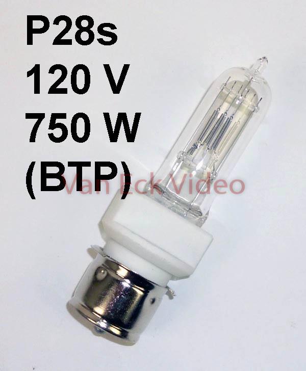 Lamp P28s, 120V, 750W, Tungsten Halogen (BTP)