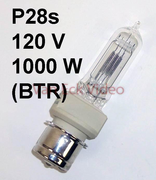 Lamp P28s, 120V, 1000W, Tungsten Halogen (BTR)