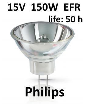 Philips Koudespiegellamp Halogeen 15V / 150W GZ6,35 EFR - A1/232 - Type 6423XHP FO - 50 branduren