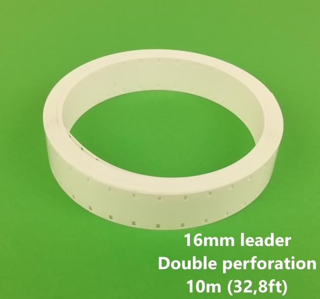 16mm Film Leader/ aanloopstrook wit acetaat - Dubbele perforatie - 10m