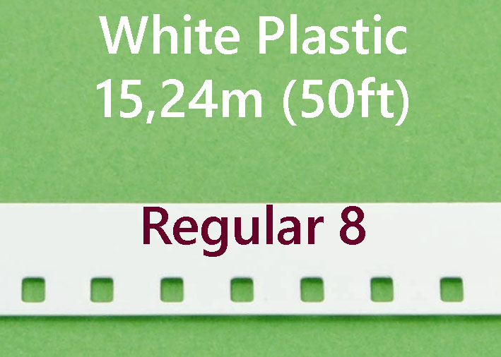 Regular 8 Film Leader - Wit Plastic- 15.24m (50ft)