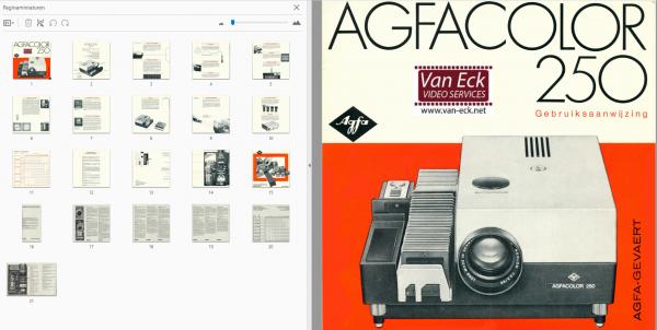 Agfa Agfacolor 250 Gebruikshandleiding, Talen: Duits Nederlands