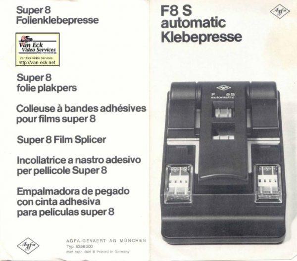 Agfa Splicer F8S Automatic Gebruikshandleiding Deutsch English Francais Espanol Italiano