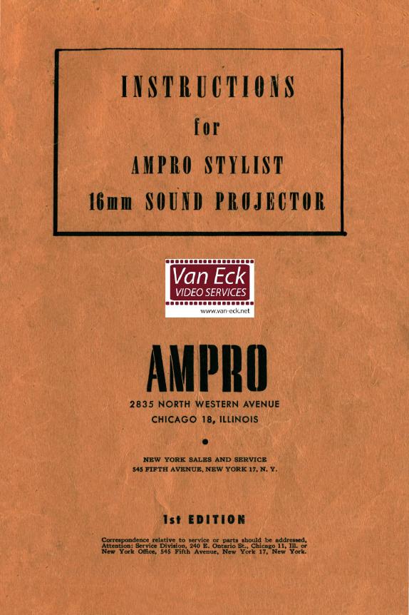 Ampro Stylist 16mm Sound Projector Gebruikshandleiding, Talen: Engels