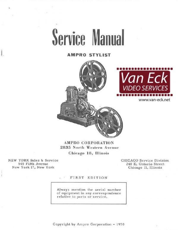 Ampro Stylist 16mm projector Service handleiding English