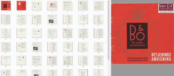 Bang & Olufsen Beocord 1500 Deluxe Gebruikshandleiding, Talen: Duits Engels Zweeds