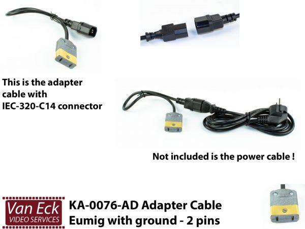 Adapter voedingskabel Eumig met randaarde - 2 pins (KA-0076-AD)