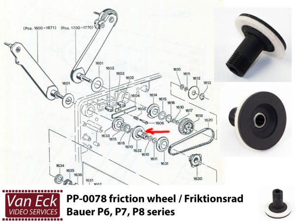 Bauer P6,P7,P8 - Frictie wiel / Friktionsrad