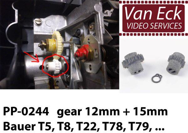 Bauer T5, T8, T22, T78, T79, ... - tandwielen - 12mm + 15mm