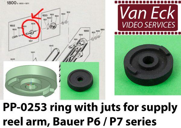 Bauer P6 / P7 ring met nokjes op spoelas - afwikkelspoelarm