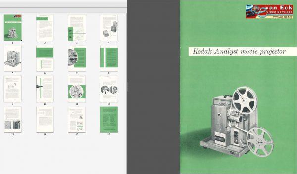 Kodak Analyst movie projector Gebruikshandleiding Engels