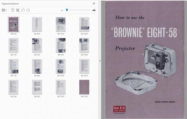 Kodak Brownie Eight-58 projector Gebruikshandleiding, Talen: Engels