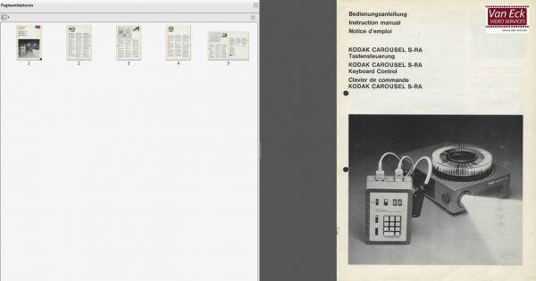 Kodak Carousel S RA Keyboard Control Gebruikshandleiding Deutsch English Francais