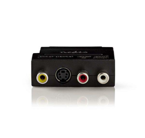 Schakelbare SCART AV-adapter SCART mannelijk - 3x RCA vrouwelijk + S-Video vrouwelijk zwart