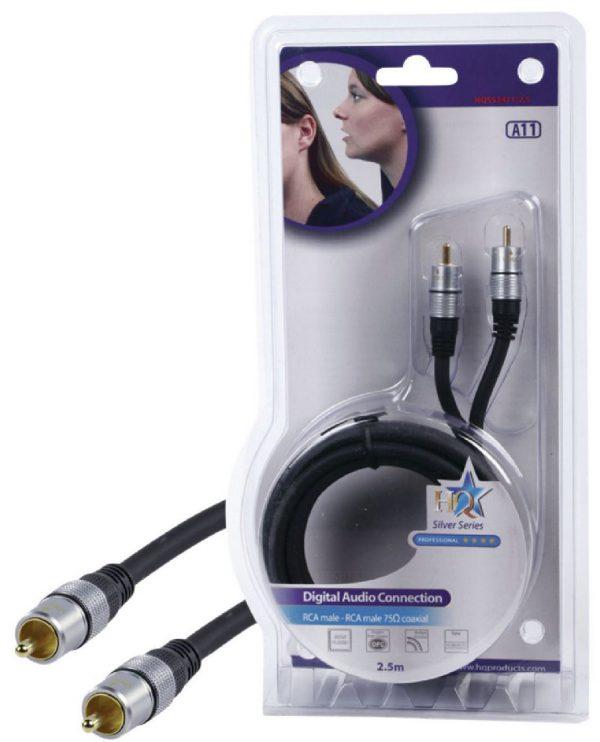 HQ - audio/video kabel 1xRCA Mannelijk, 1xRCA Mannelijk - 2,50m Hoge kwaliteit