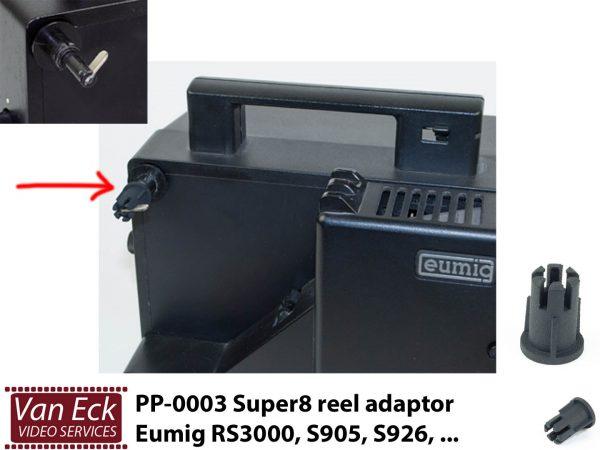 Super8 spoel adaptor Eumig RS3000, S905, S926, ... PP-0003