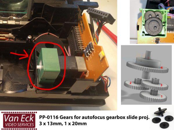 Tandwielen setje voor autofocus tandwielkastje dia projectoren 3 x 13mm, 1 x 20mm (Reflecta, ....)