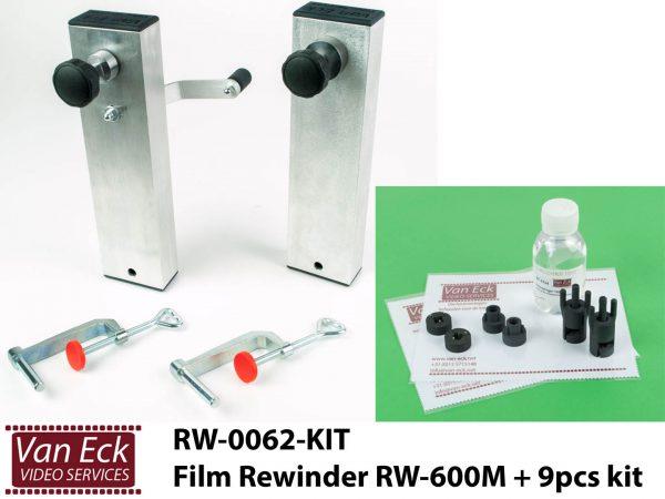Filmomspoeler 8mm, super8, 9,5mm en 16mm - Van Eck RW-600M + 9 delige accessoire set