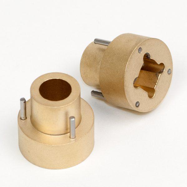 Spoeladapter Super8 / 16mm - messing (Van Eck) - set van 2