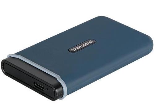 Transcend SSD 480 GB snel - TS480GESD350C draagbare SSD [USB3.1 GEN2/ USB TYPE-C, 480GB, 3D NAND, 1050/950 MB/S, BLUE]