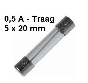 Zekering met afmeting 5x20mm 0,5A Traag
