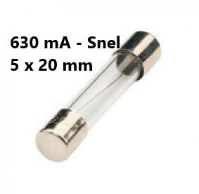 Zekering met afmeting 5x20mm 630mA Snel