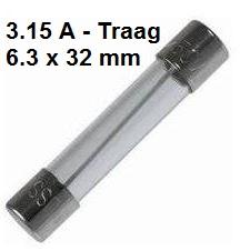 Zekering met afmeting 6,3x32mm 3.15A Traag