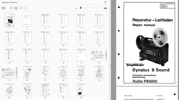 Voigtlander Dynalux8 sound + Rollei P8400S Service handleiding, Talen: Duits Engels